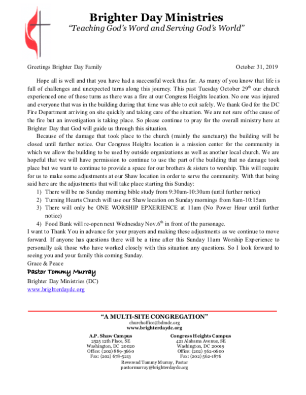 Oct 2019 Church Fire Letter to the Congregation